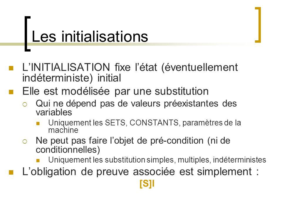 Les initialisations LINITIALISATION fixe létat (éventuellement indéterministe) initial Elle est modélisée par une substitution Qui ne dépend pas de valeurs préexistantes des variables Uniquement les SETS, CONSTANTS, paramètres de la machine Ne peut pas faire lobjet de pré-condition (ni de conditionnelles) Uniquement les substitution simples, multiples, indéterministes Lobligation de preuve associée est simplement : [S]I
