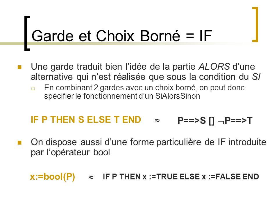 Garde et Choix Borné = IF Une garde traduit bien lidée de la partie ALORS dune alternative qui nest réalisée que sous la condition du SI En combinant 2 gardes avec un choix borné, on peut donc spécifier le fonctionnement dun SiAlorsSinon IF P THEN S ELSE T END On dispose aussi dune forme particulière de IF introduite par lopérateur bool x:=bool(P) P==>S [] P==>T IF P THEN x :=TRUE ELSE x :=FALSE END