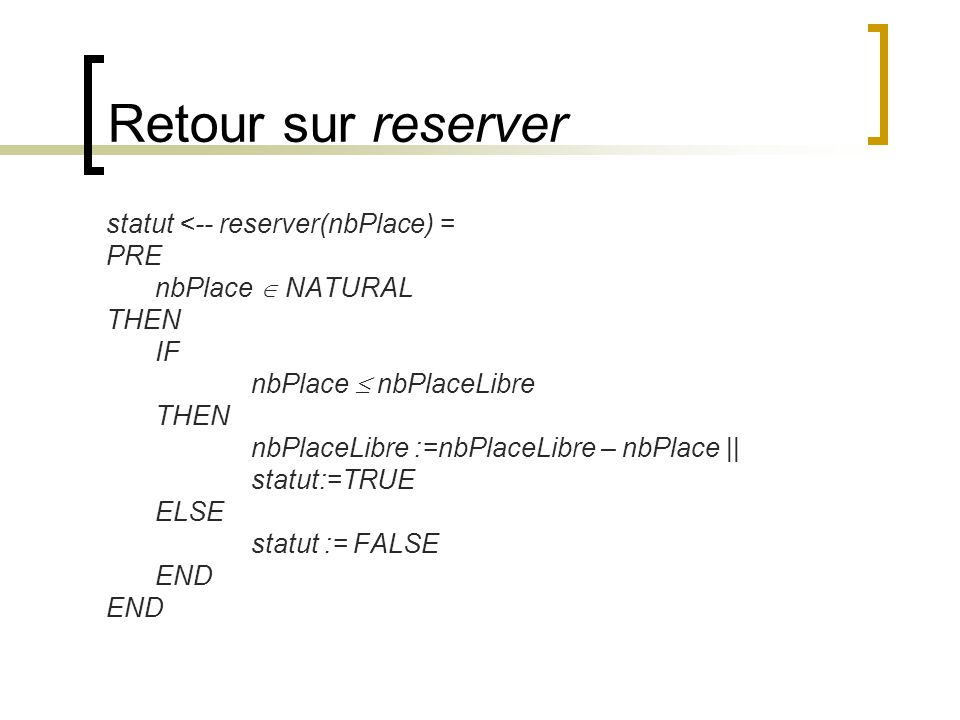 Retour sur reserver statut <-- reserver(nbPlace) = PRE nbPlace NATURAL THEN IF nbPlace nbPlaceLibre THEN nbPlaceLibre :=nbPlaceLibre – nbPlace || stat