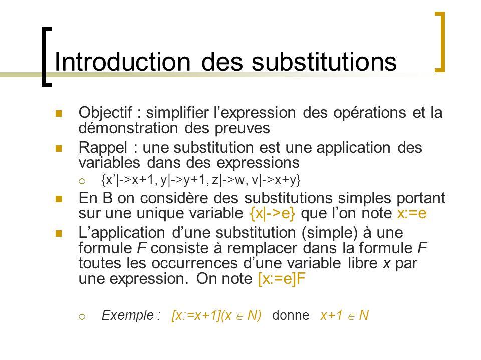Introduction des substitutions Objectif : simplifier lexpression des opérations et la démonstration des preuves Rappel : une substitution est une application des variables dans des expressions {x|->x+1, y|->y+1, z|->w, v|->x+y} En B on considère des substitutions simples portant sur une unique variable {x|->e} que lon note x:=e Lapplication dune substitution (simple) à une formule F consiste à remplacer dans la formule F toutes les occurrences dune variable libre x par une expression.