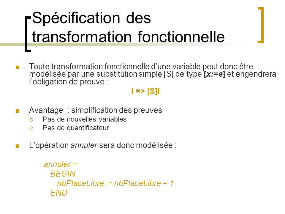 Le choix borné Objectif : Spécifier que limplémentation pourra au choix réaliser S ou T ou … Substitution indéterminisme S [] T CHOICE S OR …OR T END (en ASCII) Sémantique [S[]T]F [S]F [T]F