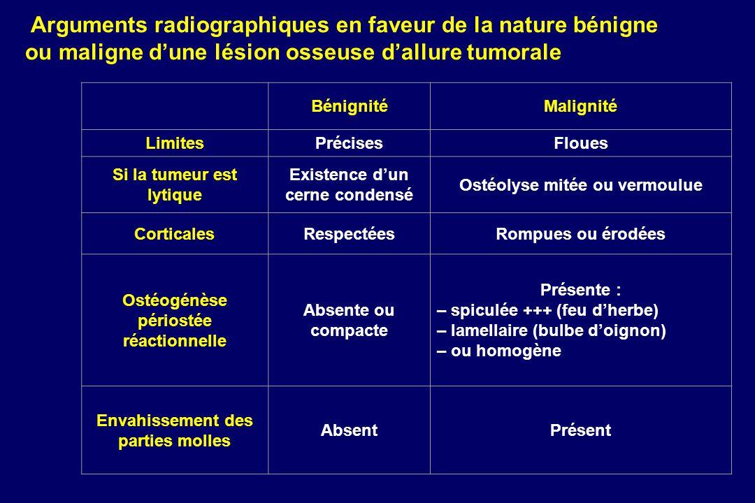 Accue il Nouveauté s Email webmaster Sommaire FMC Sommaire général Page précédente Arguments radiographiques en faveur de la nature bénigne ou maligne