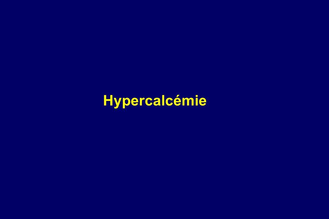 ---- Furosémide ---- Hypoparathyroïdie primitive ou chirurgicale. ---- Cancer médullaire de la thyroïde ( secréteur de calcitonine ). ---- Aminodises,