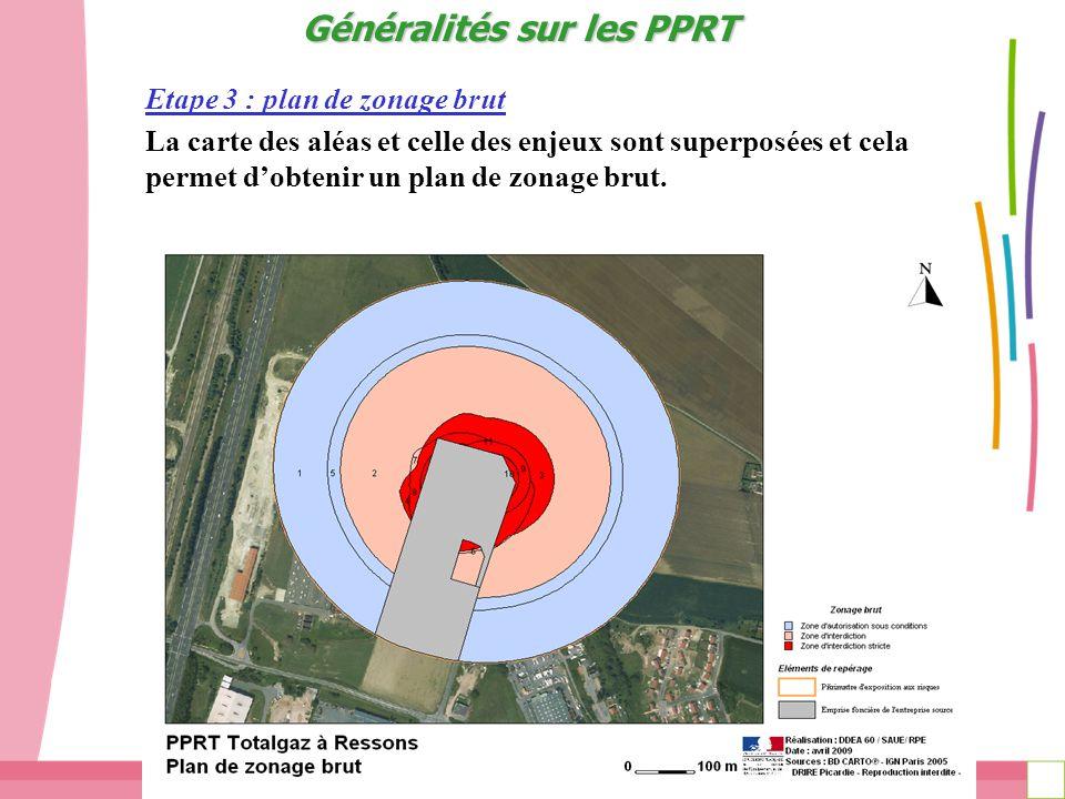 Page 14 PPRT de CLARIANT : Réunion des POA du 12 avril 2011 Etape 3 : plan de zonage brut La carte des aléas et celle des enjeux sont superposées et cela permet dobtenir un plan de zonage brut.