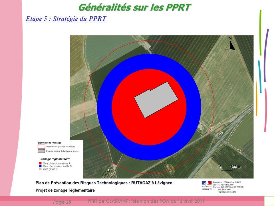 Page 28 PPRT de CLARIANT : Réunion des POA du 12 avril 2011 Etape 5 : Stratégie du PPRT Généralités sur les PPRT