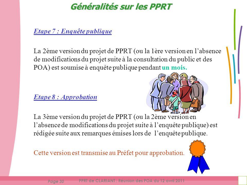 Page 30 PPRT de CLARIANT : Réunion des POA du 12 avril 2011 Etape 7 : Enquête publique La 2ème version du projet de PPRT (ou la 1ère version en labsence de modifications du projet suite à la consultation du public et des POA) est soumise à enquête publique pendant un mois.