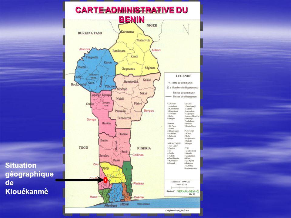 CARTE DE KLOUÉKANMÈ Superficie : 394 km2 Nord : Abomey et Agbangnizoun Sud : Djakotomey, Toviklin et Lalo Ouest : Aplahoué Est : Agbangnizoun et Lalo