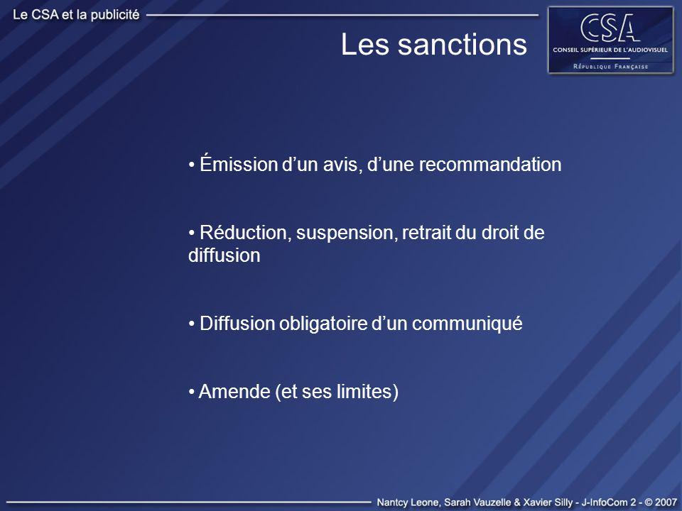 Les sanctions Émission dun avis, dune recommandation Réduction, suspension, retrait du droit de diffusion Diffusion obligatoire dun communiqué Amende