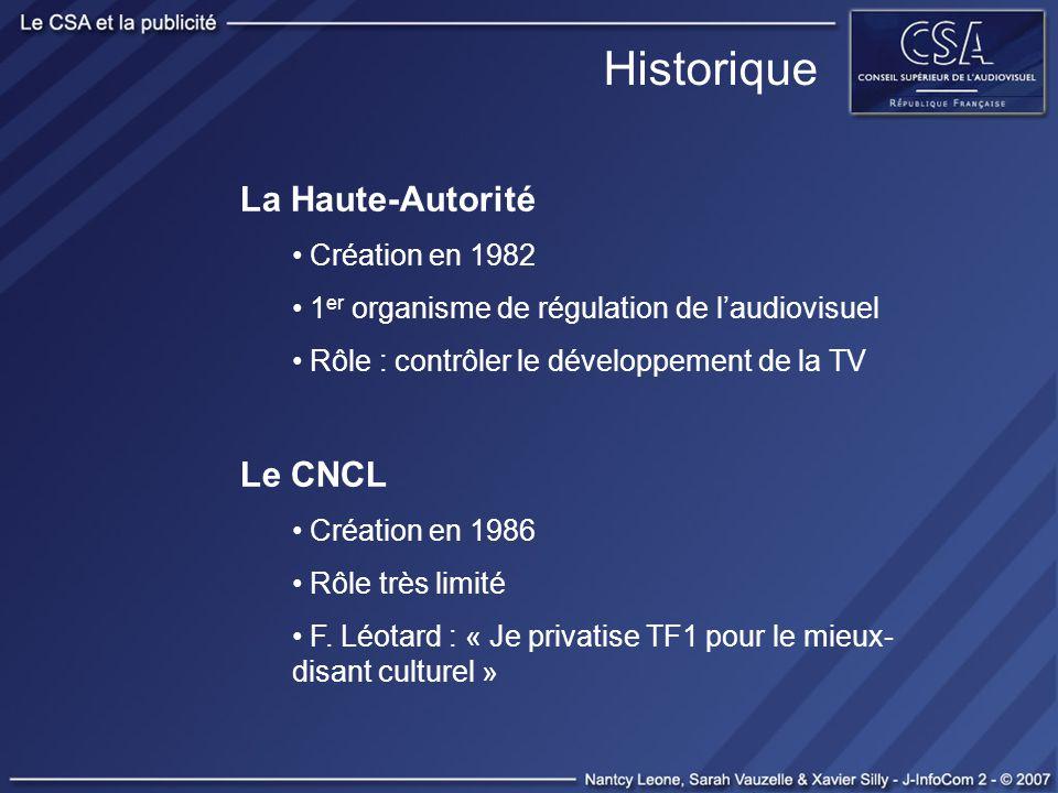 Historique La Haute-Autorité Création en 1982 1 er organisme de régulation de laudiovisuel Rôle : contrôler le développement de la TV Le CNCL Création
