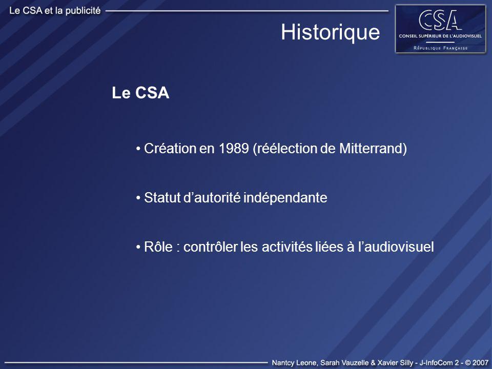 Historique Le CSA Création en 1989 (réélection de Mitterrand) Statut dautorité indépendante Rôle : contrôler les activités liées à laudiovisuel