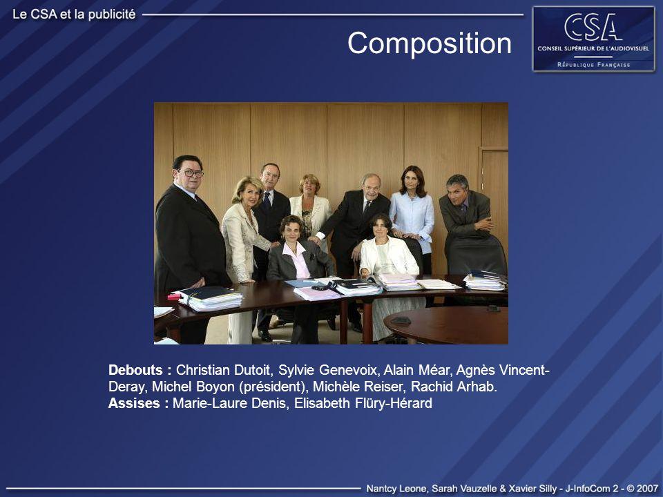 Composition Debouts : Christian Dutoit, Sylvie Genevoix, Alain Méar, Agnès Vincent- Deray, Michel Boyon (président), Michèle Reiser, Rachid Arhab. Ass