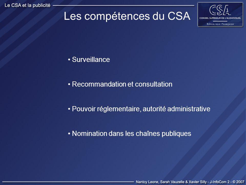 Les compétences du CSA Surveillance Recommandation et consultation Pouvoir réglementaire, autorité administrative Nomination dans les chaînes publique