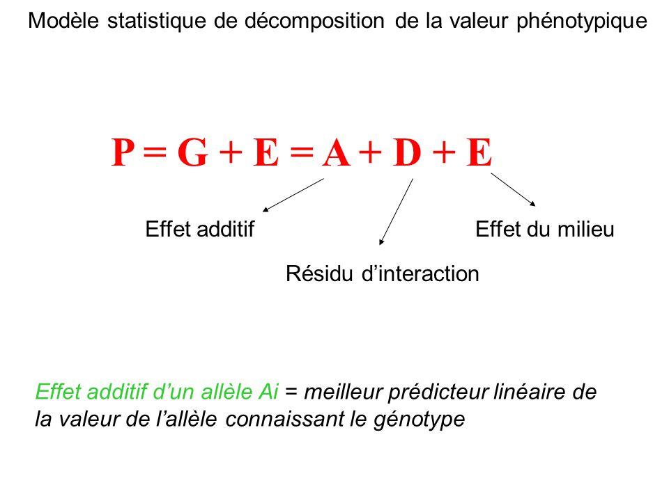 Modèle statistique de décomposition de la valeur phénotypique P = G + E = A + D + E Effet additif Effet additif dun allèle Ai = meilleur prédicteur li