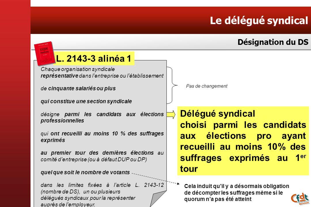 Le délégué syndical Désignation du DS L. 2143-3 alinéa 1 Chaque organisation syndicale représentative dans lentreprise ou létablissement de cinquante