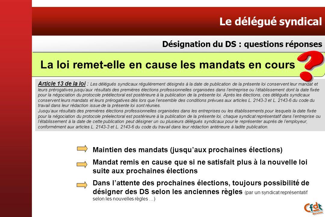 Le délégué syndical Désignation du DS : questions réponses Article 13 de la loi : Les délégués syndicaux régulièrement désignés à la date de publicati