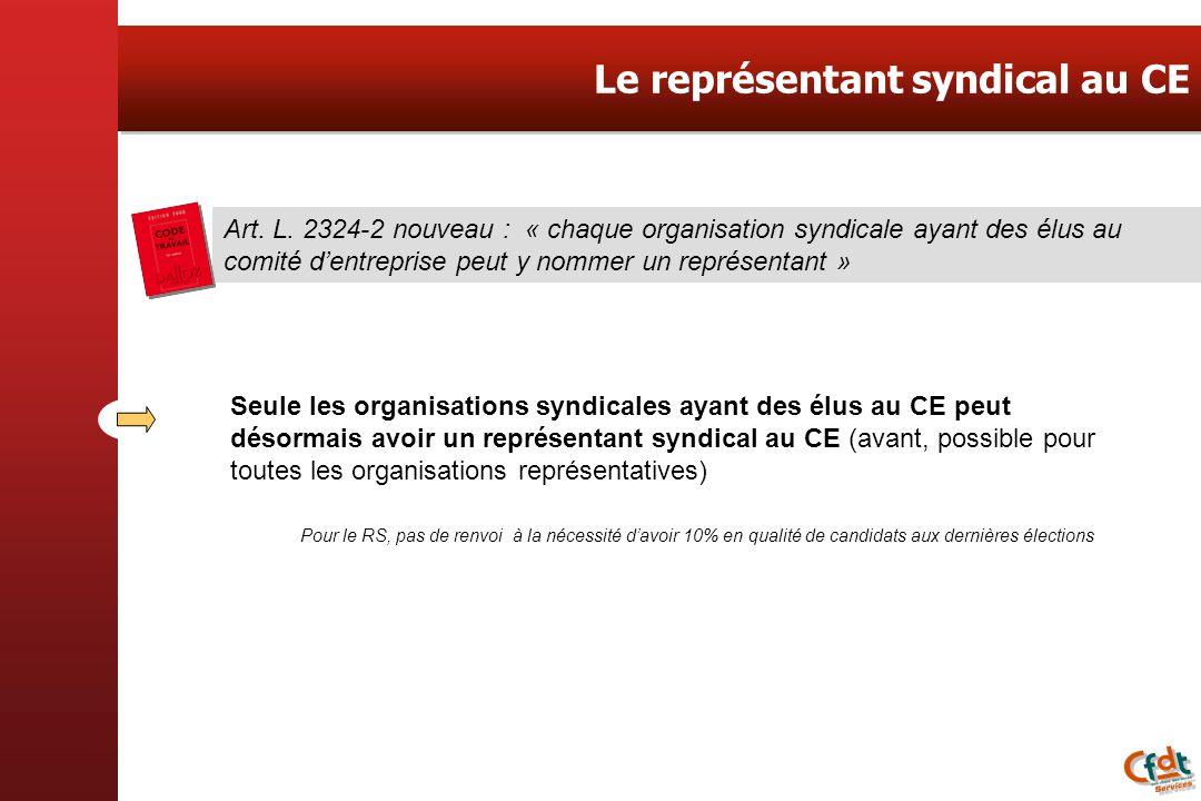 Le représentant syndical au CE Art. L. 2324-2 nouveau : « chaque organisation syndicale ayant des élus au comité dentreprise peut y nommer un représen