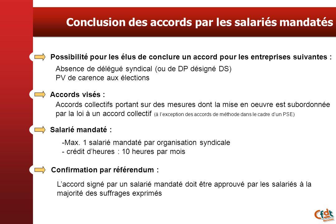 Conclusion des accords par les salariés mandatés Possibilité pour les élus de conclure un accord pour les entreprises suivantes : Absence de délégué s