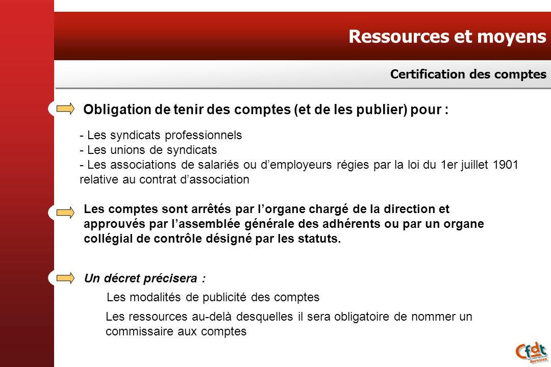 Ressources et moyens Certification des comptes Obligation de tenir des comptes (et de les publier) pour : - Les syndicats professionnels - Les unions