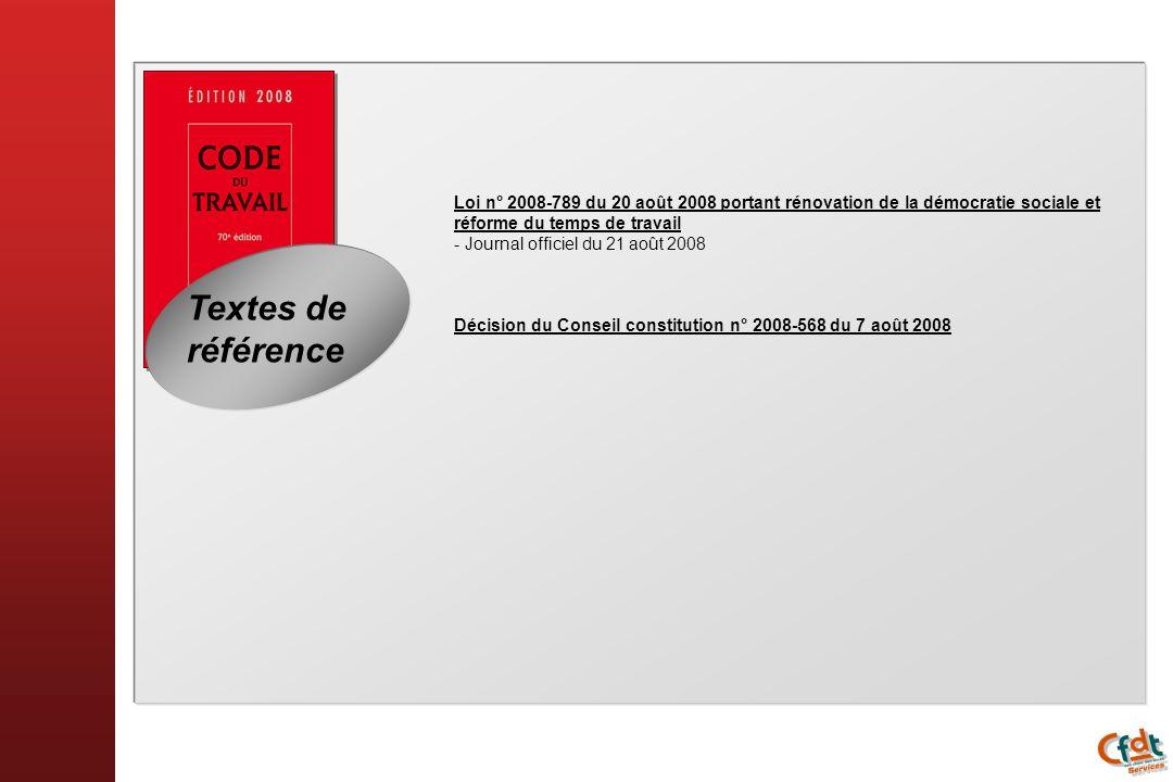 Textes de référence Loi n° 2008-789 du 20 août 2008 portant rénovation de la démocratie sociale et réforme du temps de travail - Journal officiel du 2