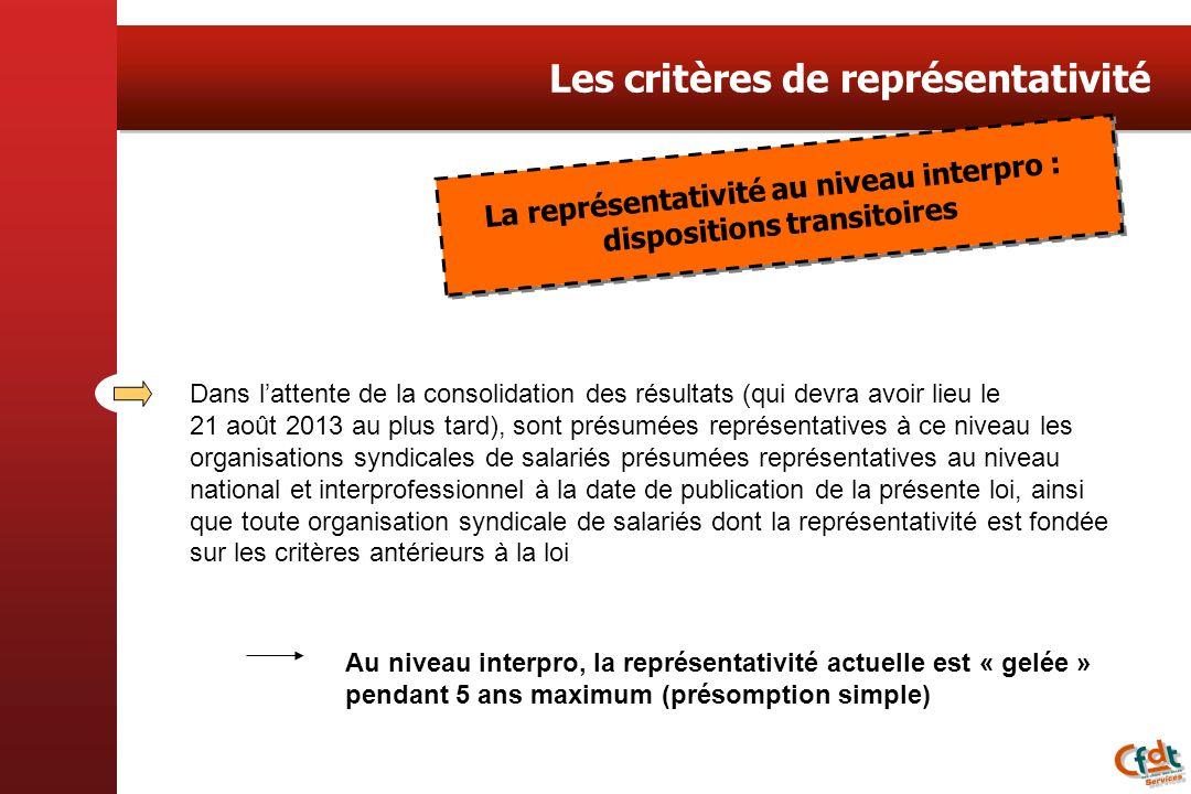 Les critères de représentativité Dans lattente de la consolidation des résultats (qui devra avoir lieu le 21 août 2013 au plus tard), sont présumées r