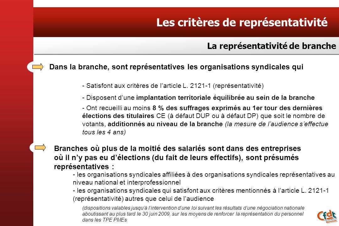 Dans la branche, sont représentatives les organisations syndicales qui - Satisfont aux critères de larticle L. 2121-1 (représentativité) - Disposent d