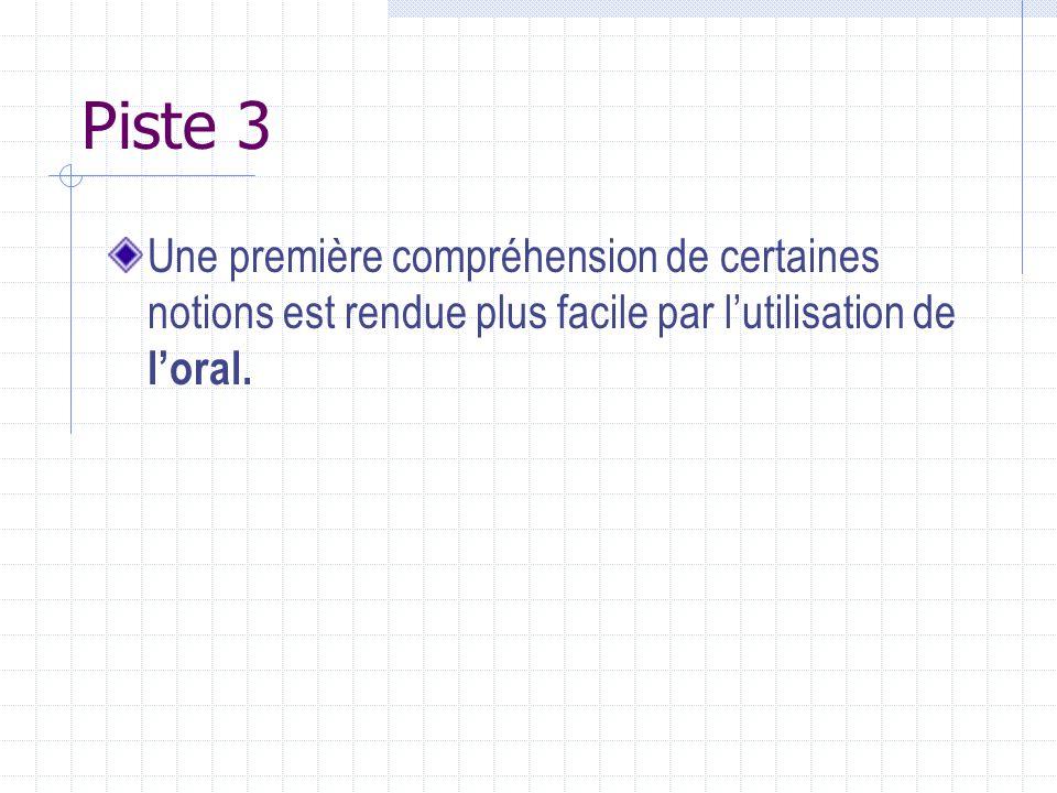 Piste 3 Une première compréhension de certaines notions est rendue plus facile par lutilisation de loral.
