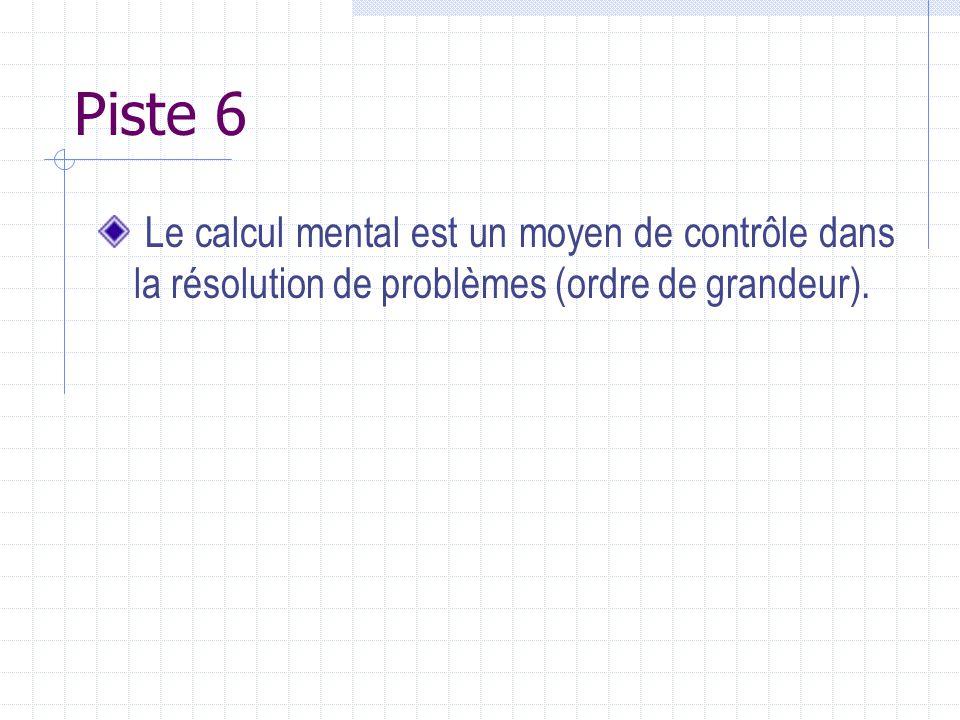 Piste 6 Le calcul mental est un moyen de contrôle dans la résolution de problèmes (ordre de grandeur).