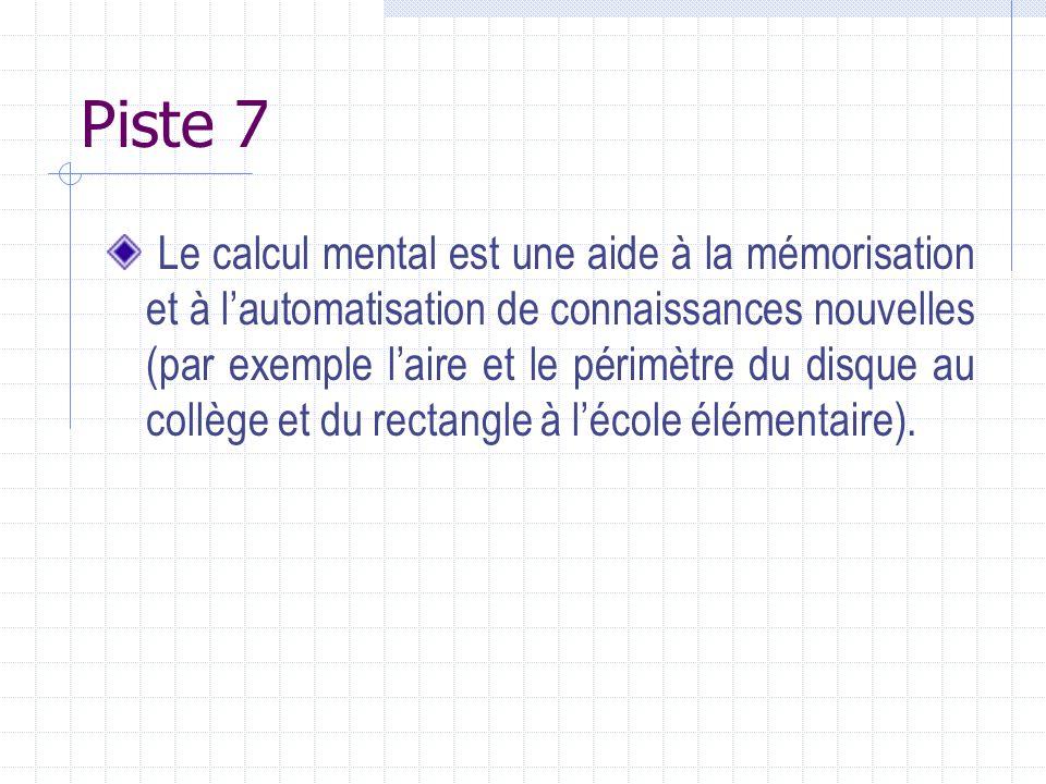 Piste 7 Le calcul mental est une aide à la mémorisation et à lautomatisation de connaissances nouvelles (par exemple laire et le périmètre du disque a