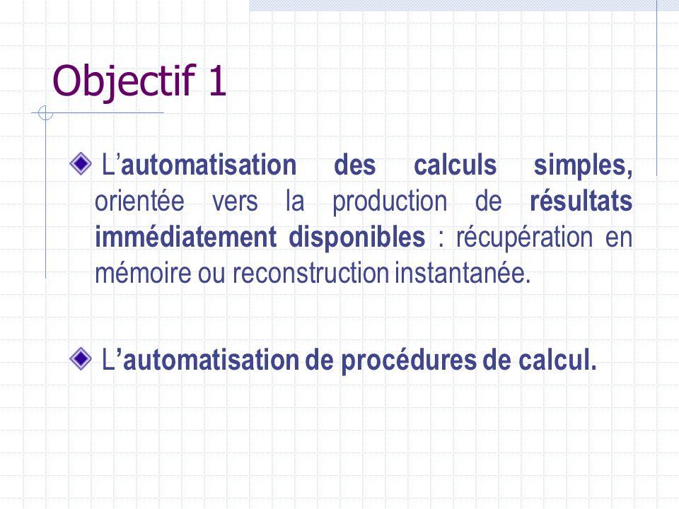Objectif 1 L automatisation des calculs simples, orientée vers la production de résultats immédiatement disponibles : récupération en mémoire ou recon