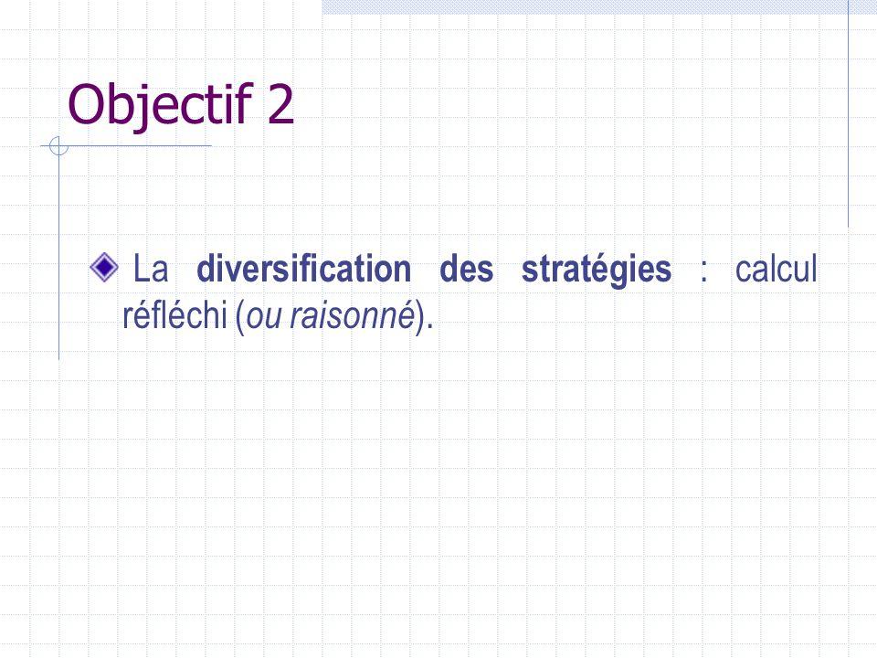 Objectif 2 La diversification des stratégies : calcul réfléchi ( ou raisonné ).