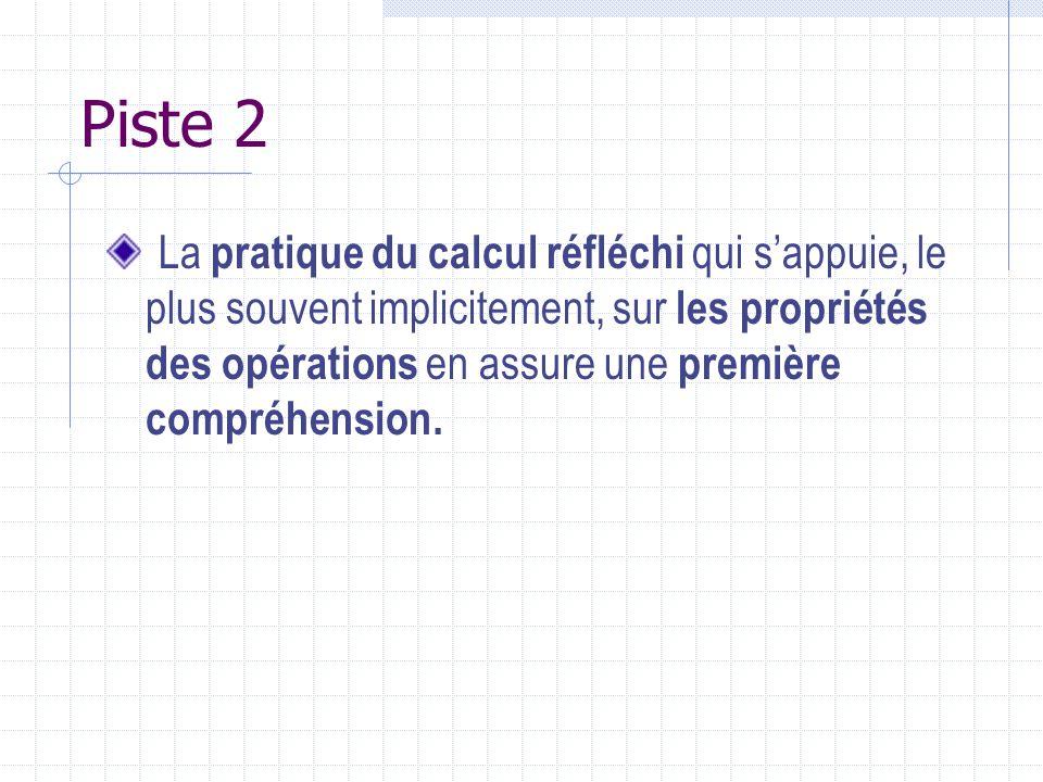 Piste 2 La pratique du calcul réfléchi qui sappuie, le plus souvent implicitement, sur les propriétés des opérations en assure une première compréhens