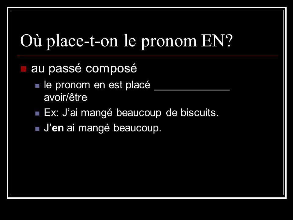 Où place-t-on le pronom EN? au passé composé le pronom en est placé _____________ avoir/être Ex: Jai mangé beaucoup de biscuits. Jen ai mangé beaucoup