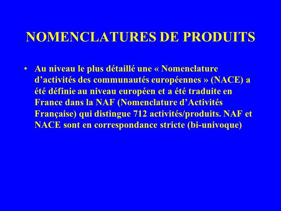Au niveau le plus détaillé une « Nomenclature dactivités des communautés européennes » (NACE) a été définie au niveau européen et a été traduite en France dans la NAF (Nomenclature dActivités Française) qui distingue 712 activités/produits.