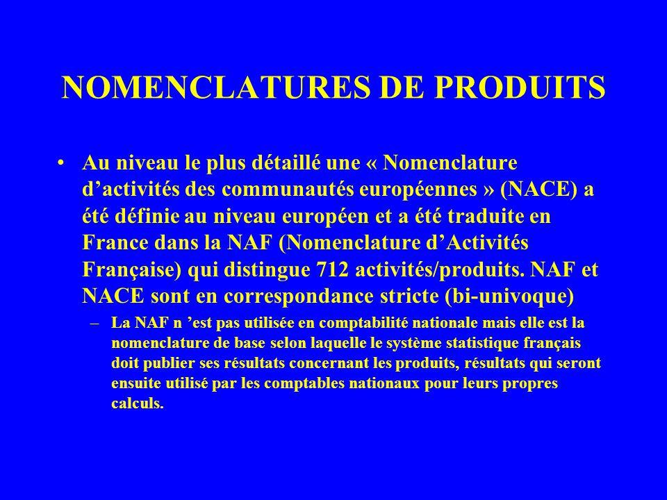 NOMENCLATURES DE PRODUITS Au niveau le plus détaillé une « Nomenclature dactivités des communautés européennes » (NACE) a été définie au niveau européen et a été traduite en France dans la NAF (Nomenclature dActivités Française) qui distingue 712 activités/produits.