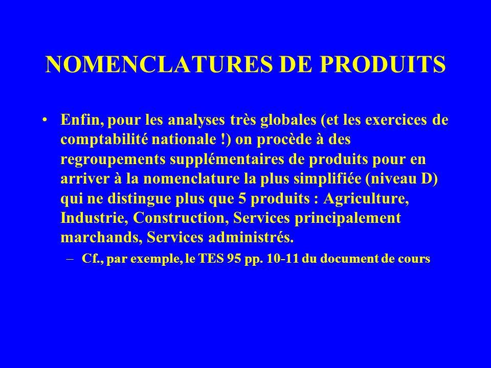 NOMENCLATURES DE PRODUITS Le schéma de ces nomenclatures emboîtées est décrit avec plus de précision dans le document pp.