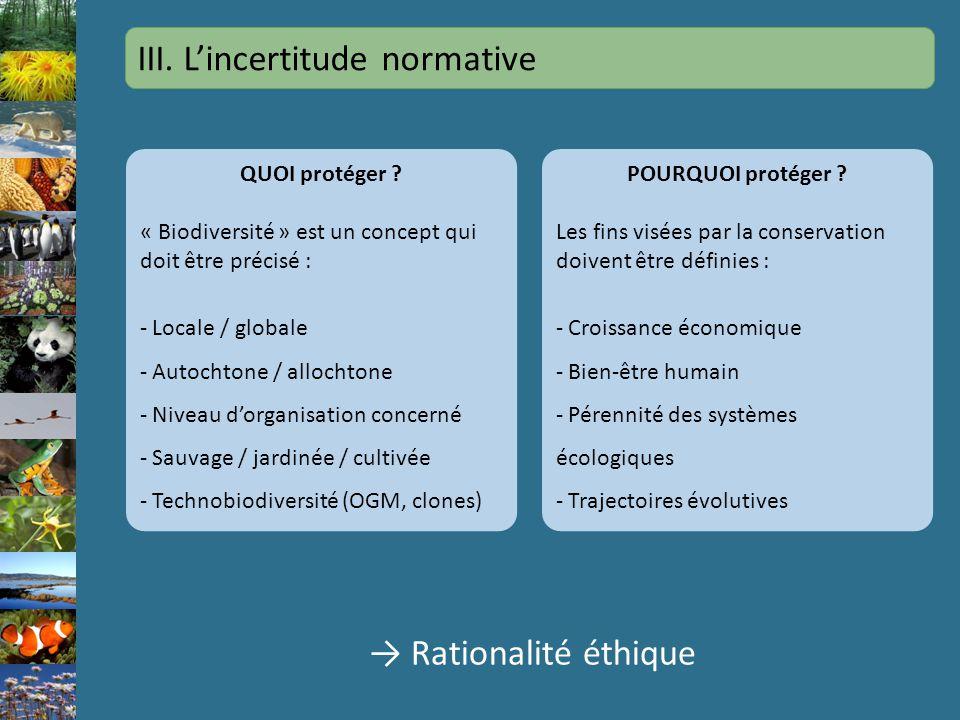 III. Lincertitude normative QUOI protéger ? « Biodiversité » est un concept qui doit être précisé : - Locale / globale - Autochtone / allochtone - Niv