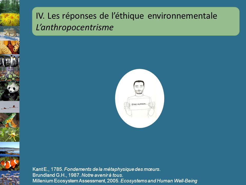 Kant E., 1785. Fondements de la métaphysique des mœurs. Brundland G.H., 1987. Notre avenir à tous. Millenium Ecosystem Assessment, 2005. Ecosystems an