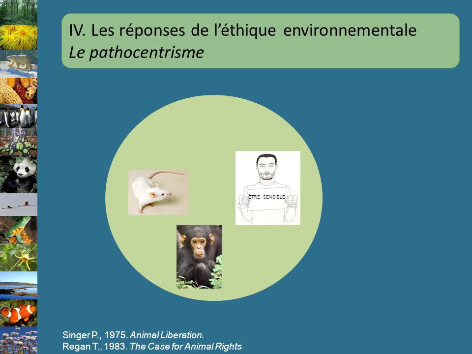 ÊTRE SENSIBLE Singer P., 1975. Animal Liberation. Regan T., 1983. The Case for Animal Rights IV. Les réponses de léthique environnementale Le pathocen