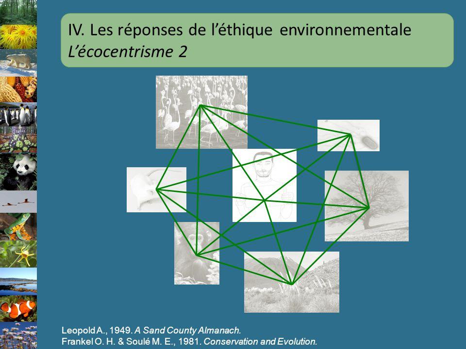 Leopold A., 1949. A Sand County Almanach. Frankel O. H. & Soulé M. E., 1981. Conservation and Evolution. IV. Les réponses de léthique environnementale