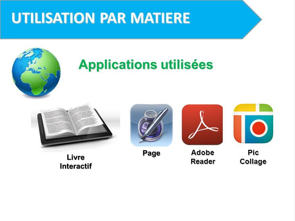 UTILISATION PAR MATIERE Applications utilisées Adobe Reader Pic Collage