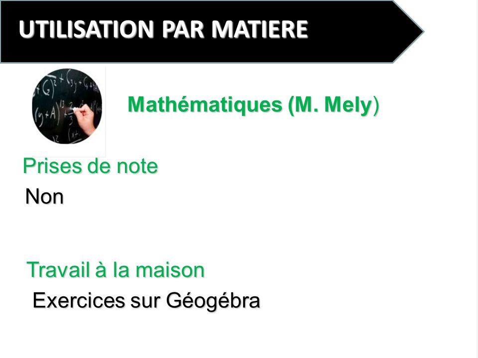UTILISATION PAR MATIERE Prises de note Non Mathématiques (M. Mely) Travail à la maison Exercices sur Géogébra