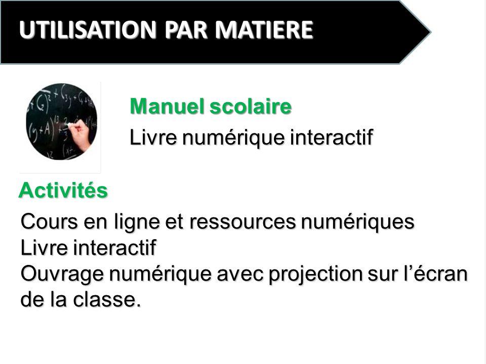 UTILISATION PAR MATIERE Livre numérique interactif Cours en ligne et ressources numériques Livre interactif Ouvrage numérique avec projection sur lécr