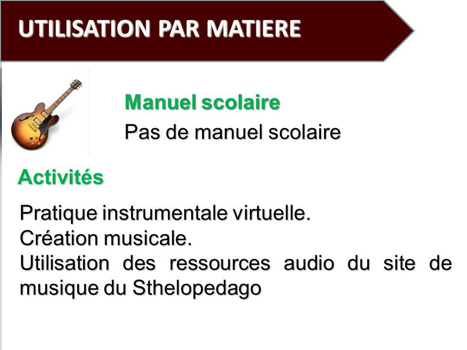 UTILISATION PAR MATIERE Pas de manuel scolaire Pratique instrumentale virtuelle. Création musicale. Utilisation des ressources audio du site de musiqu