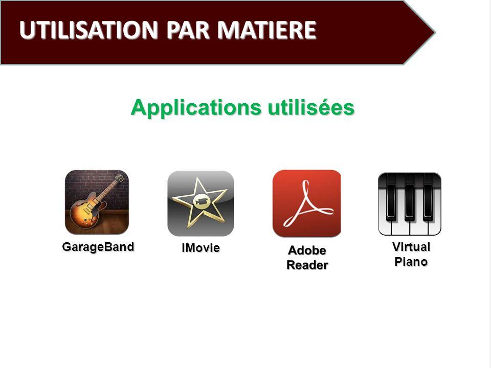 UTILISATION PAR MATIERE Applications utilisées GarageBand IMovie VirtualPiano