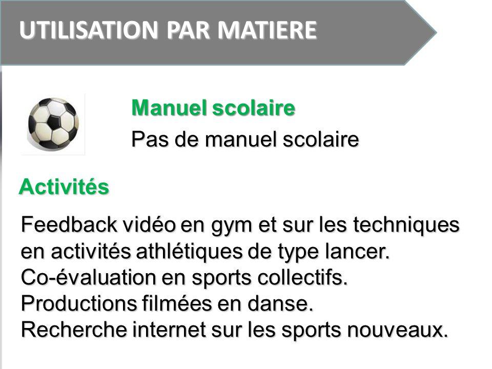 UTILISATION PAR MATIERE Pas de manuel scolaire Feedback vidéo en gym et sur les techniques en activités athlétiques de type lancer. Co-évaluation en s