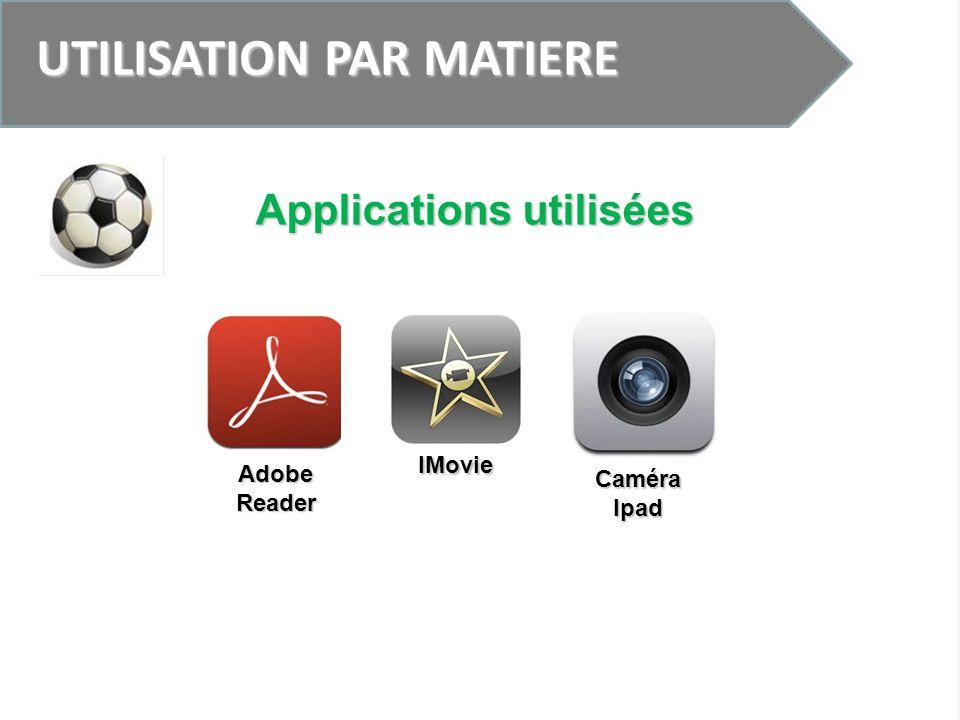 UTILISATION PAR MATIERE Applications utilisées IMovie Adobe Reader Caméra Ipad