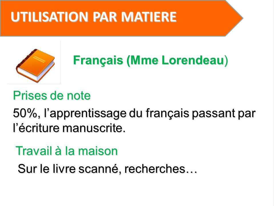 UTILISATION PAR MATIERE Prises de note 50%, lapprentissage du français passant par lécriture manuscrite. Français (Mme Lorendeau) Travail à la maison