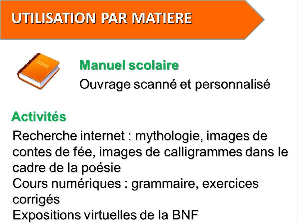 UTILISATION PAR MATIERE Prises de note Non Mathématiques (M.