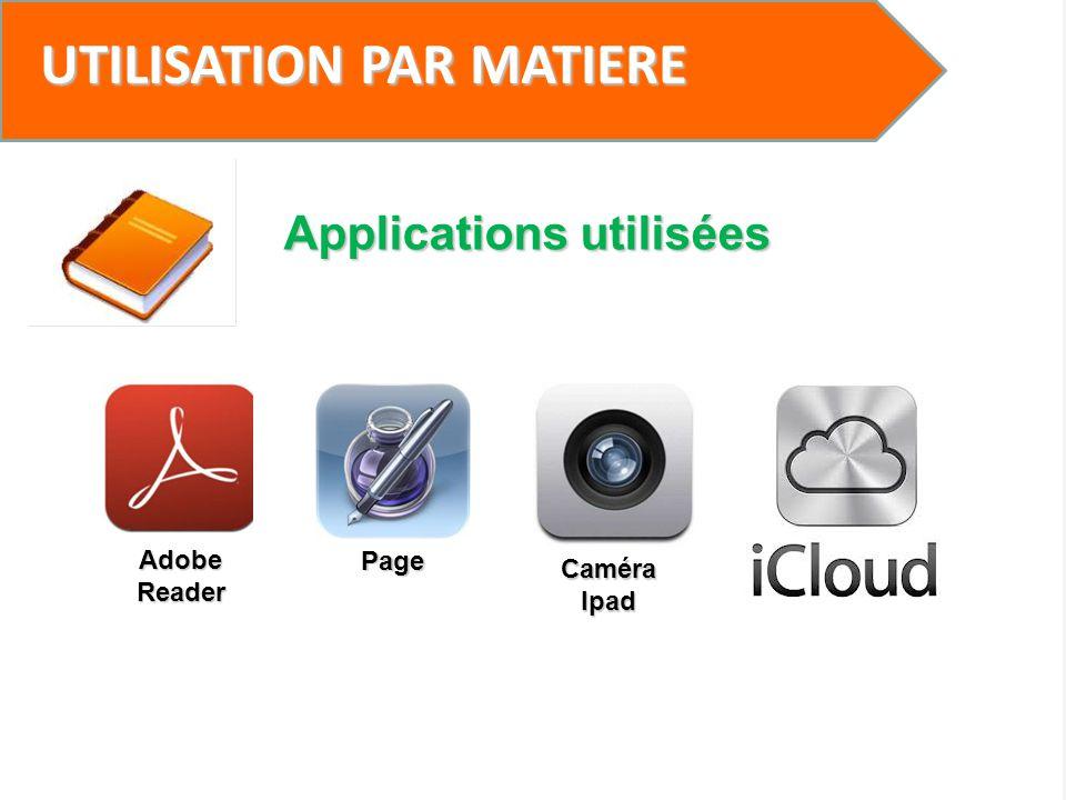 UTILISATION PAR MATIERE Applications utilisées Adobe Reader Page Caméra Ipad