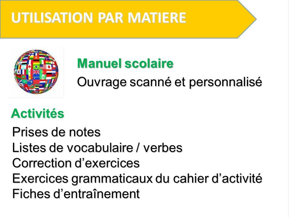 UTILISATION PAR MATIERE Prises de note Non Education Musicale (M.